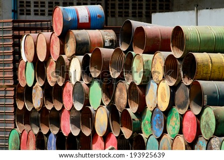 Arrangement of old oil tank - stock photo
