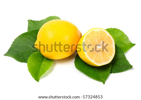 Arrangement of pieces of lemon on a white background