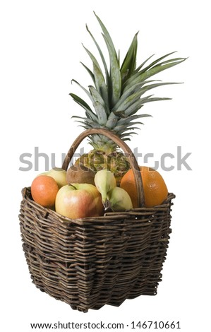 arrangement of Pineapple, Orange, banana and apples in a basket isolated on white background