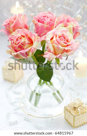 Arrangement of pink roses for holiday - stock photo