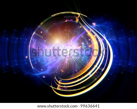 Arrangement of radial and circular geometric forms, dynamic shapes and lights suitable as backdrop for technology and science related projects - stock photo