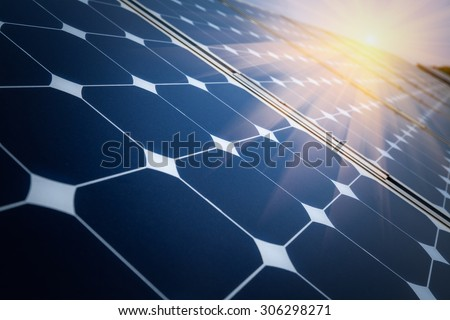 Arrangement of solar energy production plant - stock photo