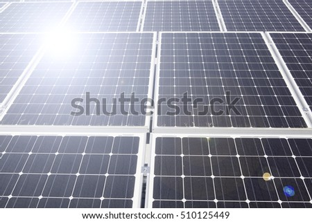 Arrangement of solar energy production plant and lens flare
