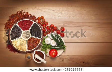 arrangement of spices with space for text - stock photo
