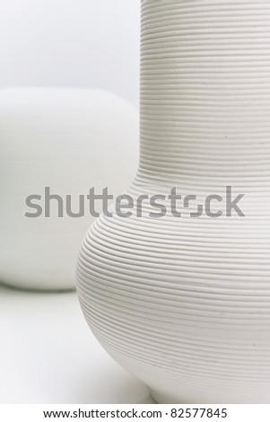 Arrangement Two White Modern Vases Stock Photo Royalty Free