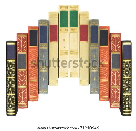 arrangement of vintage books isolated on white background, blank labels with free copy space - stock photo