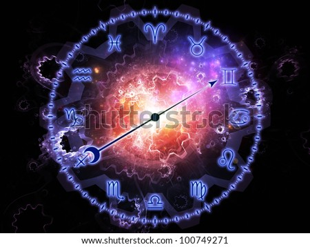 Arrangement of Zodiac symbols, gears, lights and abstract design elements on the subject of astrology, child birth, fate, destiny, future, prophecy, horoscope and occult beliefs