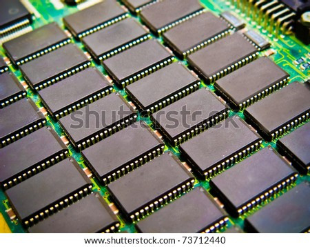 Array of memory chips - stock photo