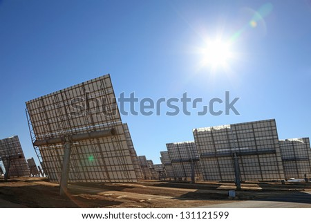 Array of photovoltaic panels of a Solar Power Station - stock photo