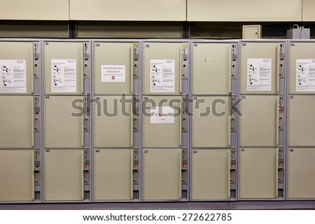Array of safety lockers for luggage - stock photo