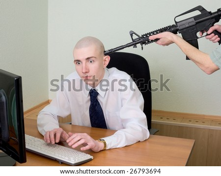 Arrest of the hacker working in the Internet at office - stock photo