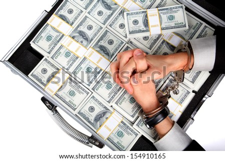 Arrested counterfeiter - stock photo