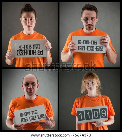 arrested criminal gang wearing orange jumpsuit - stock photo