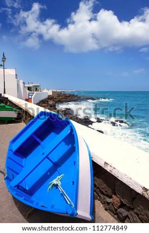 Arrieta Haria boat in Lanzarote coast at Canary Islands - stock photo