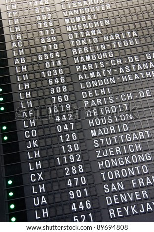 Arrival and departure board at airport terminal of Frankfurt