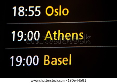 Arrival / departure board, airport sign - stock photo