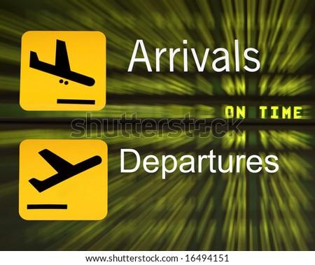 Arrival Departure Flight Board - stock photo