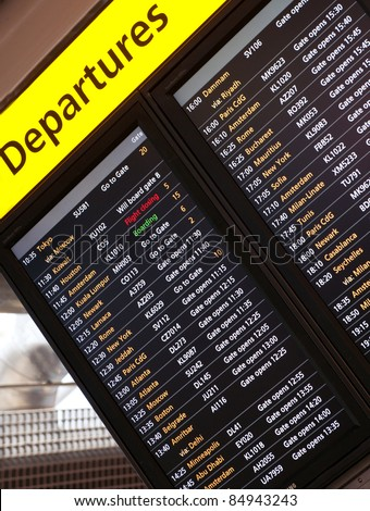 Arrival departures notice board - stock photo