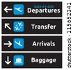 Arrival, departures, transfer and baggage airport signs - stock photo