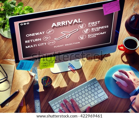 Arrival Oneway Airplane Boarding Booking Concept - stock photo