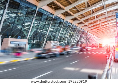 arrive at the airport terminal with the dynamic road  - stock photo