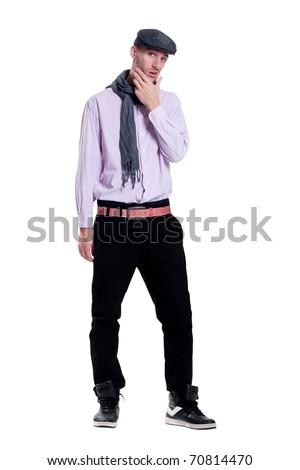 arrogant guy in the cap - stock photo