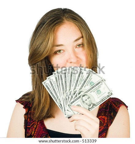 arrogant woman with lots of money on her hand