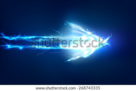 Arrow. Abstract background made of Electric lighting effect - stock photo