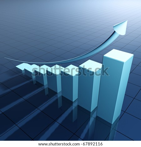 Arrow and bar chart illustrating growth - 3d  render - stock photo