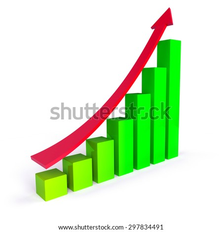 arrow and chart bar, business success concept - stock photo