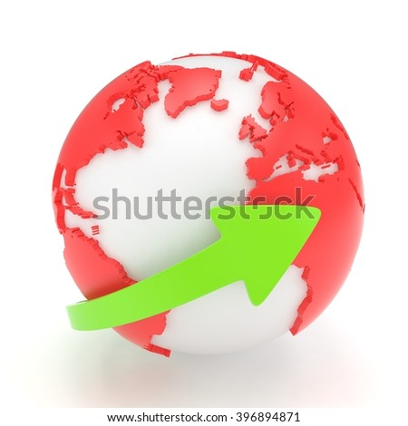 Arrow and Earth globe. 3d render