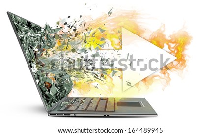 arrow and fire exit by a monitor of laptop screen isolated on white background High resolution 3d  - stock photo