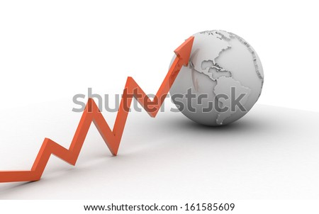 arrow and globe isolated on white background - stock photo