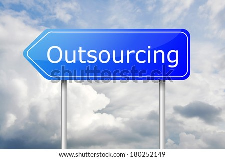 "Arrow blue sign post ""Outsourcing"" over the blue sky - stock photo"
