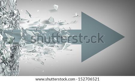 ARROW broken glass background. High resolution 3d render  - stock photo