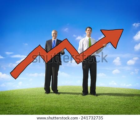 Arrow Businessman Business Success Ambition Moving Concept - stock photo