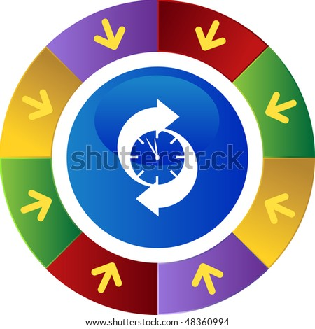 Arrow clock web button isolated on a background