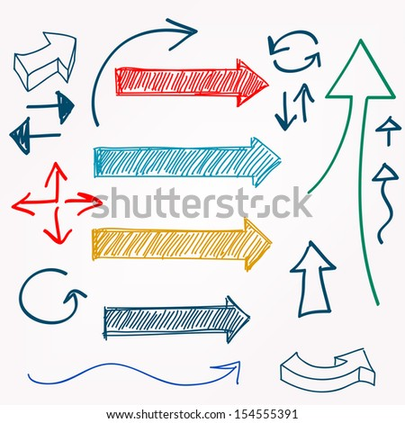 Arrow color sketchy design elements set - stock photo