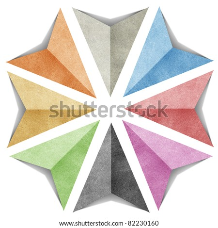 arrow compass origami tag recycled paper craft stick on white background - stock photo