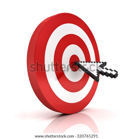 Arrow cursor clicking in the center of the red dart board or target isolated over white background - stock photo