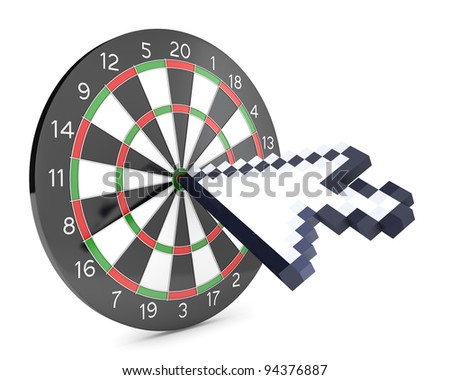 Arrow cursor hits the dartboard, isolated on white background - stock photo