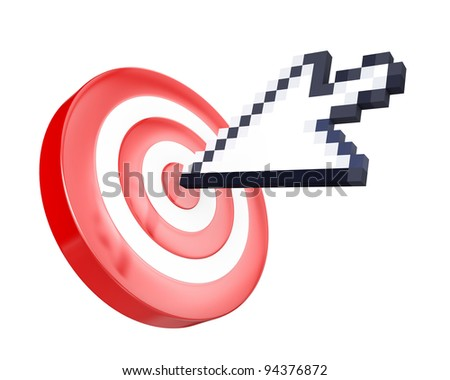 Arrow cursor hits the target, isolated on white background - stock photo