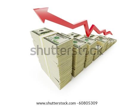 arrow dollar on a white background - stock photo