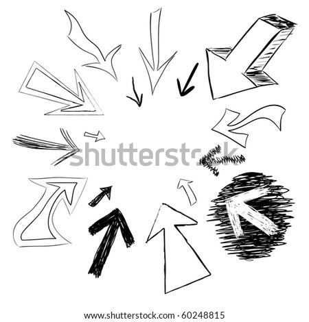 Arrow doodles pointing in a circular frame shape. - stock photo