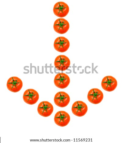 arrow down formed by fresh and juicy tomatoes - stock photo