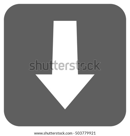 Arrow Down glyph icon. Image style is a flat icon symbol in a rounded square button, white and silver gray colors.