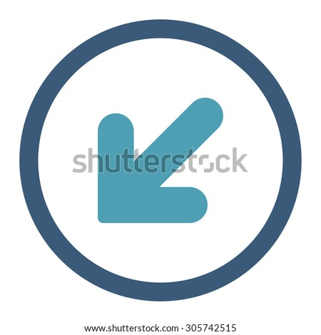 Arrow Down Left raster icon. This rounded flat symbol is drawn with cyan and blue colors on a white background.
