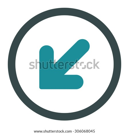 Arrow Down Left raster icon. This rounded flat symbol is drawn with soft blue colors on a white background.