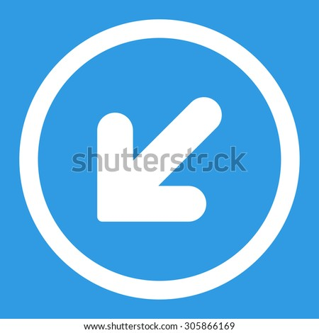 Arrow Down Left raster icon. This rounded flat symbol is drawn with white color on a blue background.