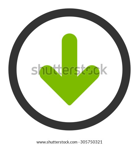 Arrow Down raster icon. This rounded flat symbol is drawn with eco green and gray colors on a white background.